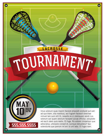 lax: A template for a lacrosse tournament. Vector EPS 10 available. Type has been converted to outlines but file is layered.