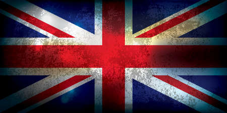 A grunge textured Union Jack flag illustration. Vector EPS 10. Vectores