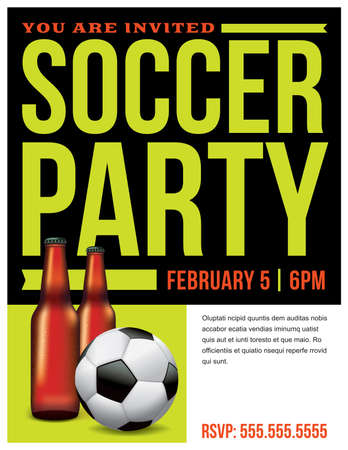 a soccer party flyer invitation template vector eps 10 available