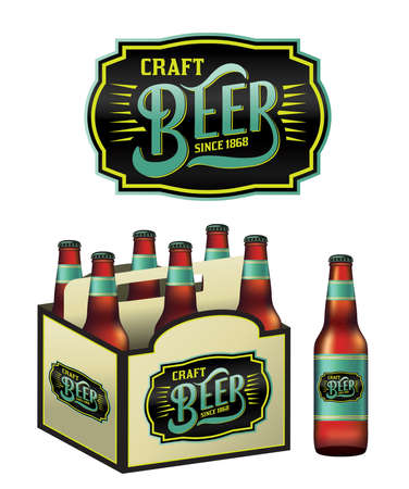 6 pack beer: An illustration for craft beer including a 6 pack, beer bottles, and beer label. Vector EPS 10 available.