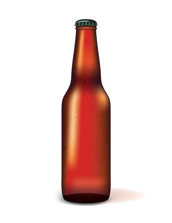 A realistic illustration of a glass bottle of dark beer sweating isolated on a white background. Vector EPS 10 available.