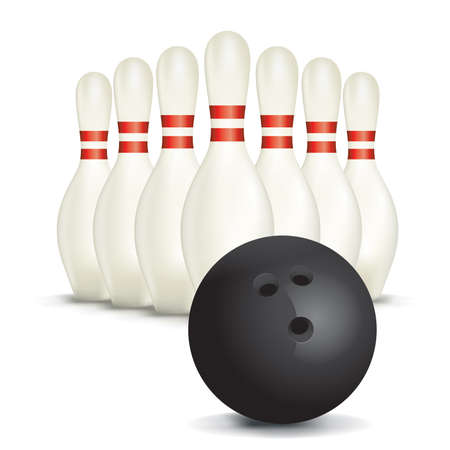 isolated: An illustration of bowling pins and ball isolated on white. Illustration
