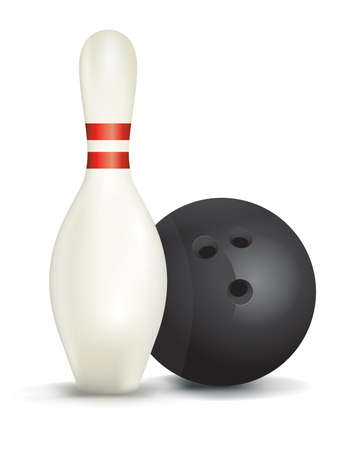 A realistic bowling pin and ball isolated on a white background.