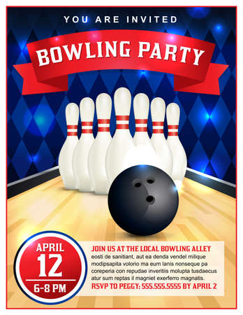 A bowling party flyer template great for birthday parties, bowling leagues and tournaments.