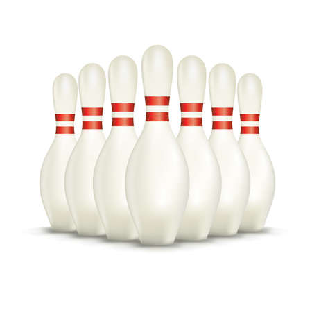 A set of white bowling pins isolated on a a white background.