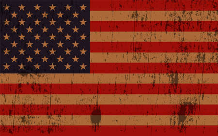 worn: An old and worn grunge textured American flag illustration. Illustration