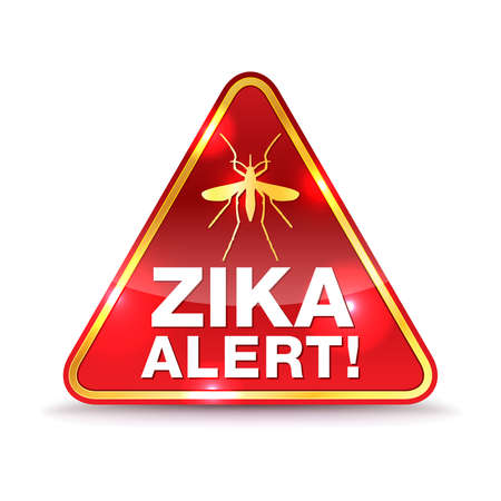 A Zika Virus alert warning icon illustration.