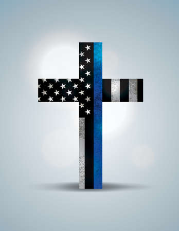 A Christian cross showing support for law enforcement.