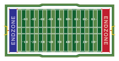 A realistic aerial view of an official American football field layout dimensions. Ilustração