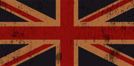 grunge union jack: An illustration of a grunge textured worn old Union Jack flag.