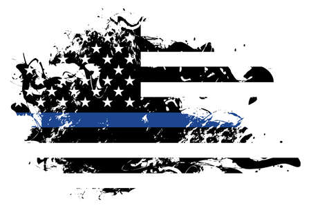An abstract grunge style American flag police and law enforcement support theme. Çizim