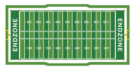 A realistic aerial view of an official American football field layout dimensions. Illustration