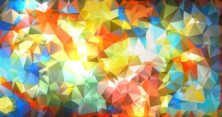 A vibrant colorful geometric background illustration made of small triangles. Ilustração