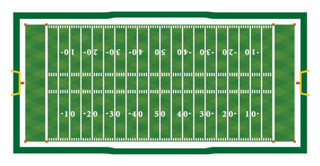A realistic aerial view of an official American football field layout dimensions. 向量圖像