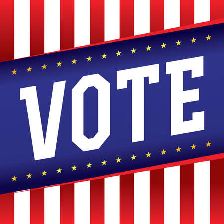 congress: The word VOTE written over a patriotic American election background.