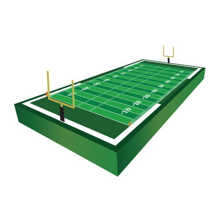 A 3D three dimensional American football field illustration.
