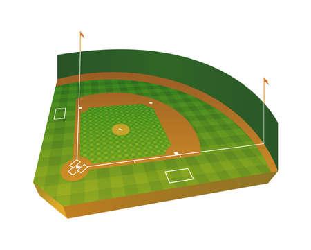 A realistic baseball field in 3D three dimensional.