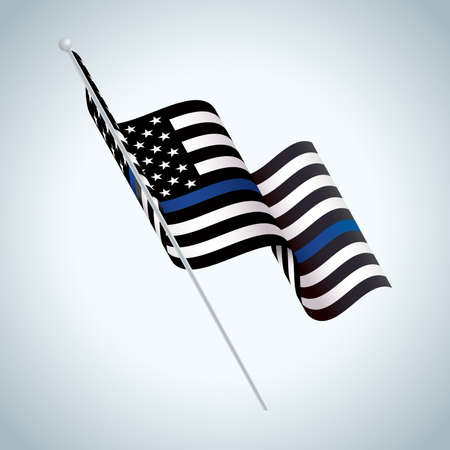 A black and white and blue striped American flag police support symbol waving illustration. Stock Illustratie