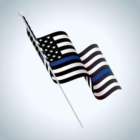 Een zwart-wit en blauw gestreepte Amerikaanse vlag politie steun symbool zwaaien illustratie. Vector Illustratie