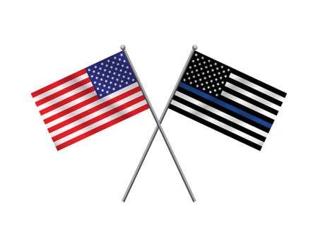 Een Amerikaanse vlag en de politie ondersteuning vlag geïsoleerd op een witte achtergrond.