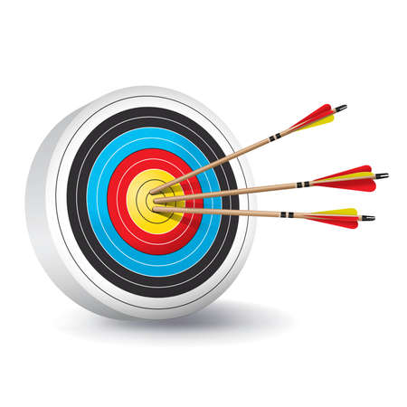 recurve: A traditional archery target with colorful rings and wooden red and yellow fletched arrows in the bullseye.