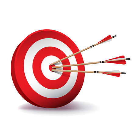 A red archery target with red and white fletched wooden arrows in the center bullseye.