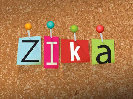 corkboard: The word Zika written in pinned ransom note letters on a corkboard illustration.
