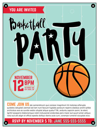 A template illustration invitation for a basketball theme.
