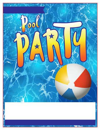 空白のプール パーティー招待状のテンプレートです。