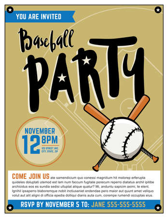 themed: A baseball themed party invitation template.