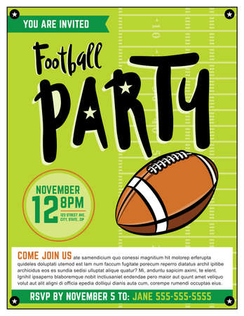 superbowl: An American football party flyer template illustration.