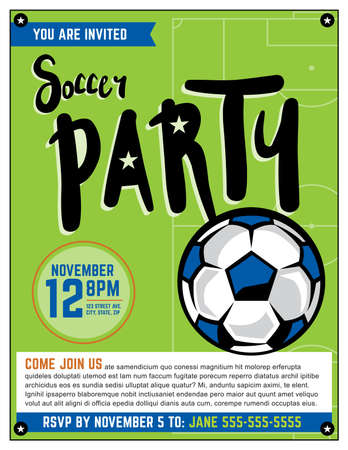 soccer field: A soccer party theme invitation template.
