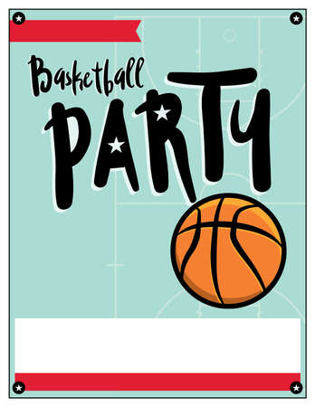 A blank template illustration invitation for a basketball theme.