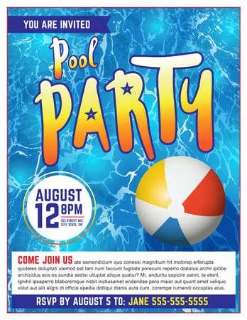 プール パーティー招待状のテンプレートです。