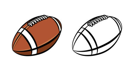 superbowl: An illustration of a black and white and color American football ball isolated on white.