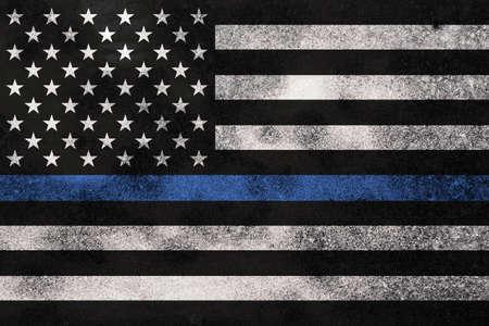 Een Amerikaanse vlag het symbool van steun voor de rechtshandhaving. Stockfoto