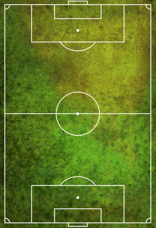 photo realism: A green textured grunge soccer football field. Stock Photo