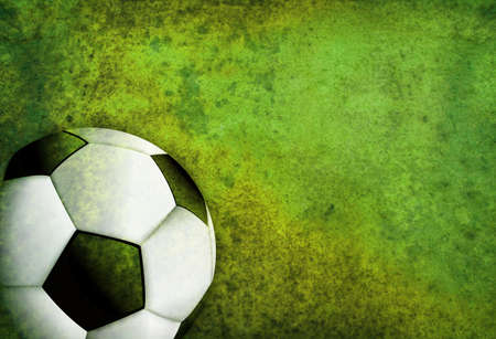 room for copy: A green textured soccer football field background with ball. Room for copy. Stock Photo