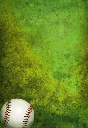 room for copy: A green textured baseball field background with ball. Room for copy.