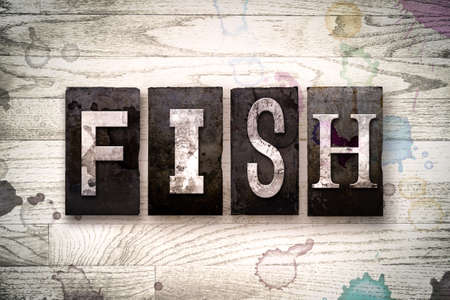 fish type: The word FISH written in vintage dirty metal letterpress type on a whitewashed wooden background with ink and paint stains.