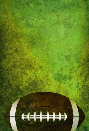 A green textured American football field background with ball. Room for copy.