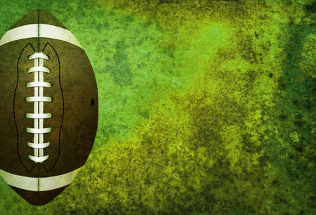room for copy: A green textured American football field background with ball. Room for copy.