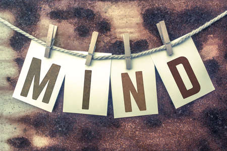 insane insanity: The word MIND stamped on cards and pinned to an old piece of twine over a rusted metal background. Stock Photo