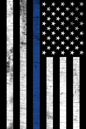 A police law enforcement support flag shown vertically with a grunge texture.