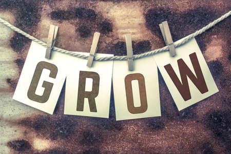 The word GROW stamped on cards and pinned to an old piece of twine over a rusted metal background.