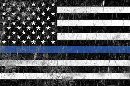 enforcement: A law enforcement police support flag painted over a cracking wooden texture.