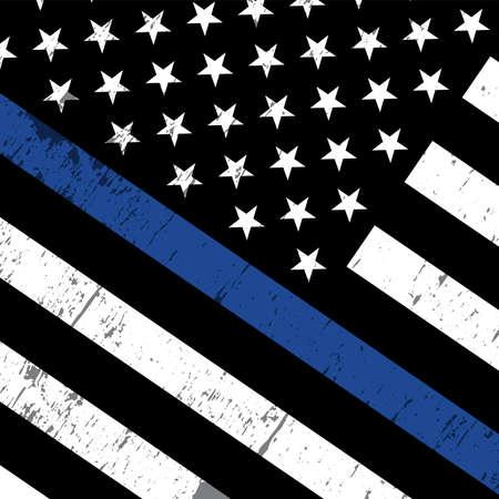 Een schuine Amerikaanse vlag pictogram symbolisch van steun voor de rechtshandhaving. Vector EPS-10 beschikbaar.