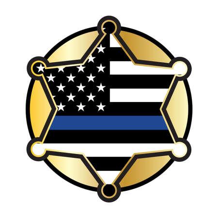 A police and law enforcement star badge emblem illustration.