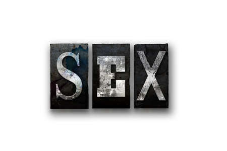 The word SEX written in vintage, dirty, ink stained letterpress type and isolated on a white background.