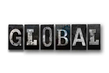 The word GLOBAL written in vintage, dirty, ink stained letterpress type and isolated on a white background.